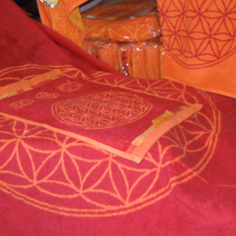 Racine  «FLEUR DE VIE» RUBIS – CORAIL – SERVIETTES avec pierres précieusees