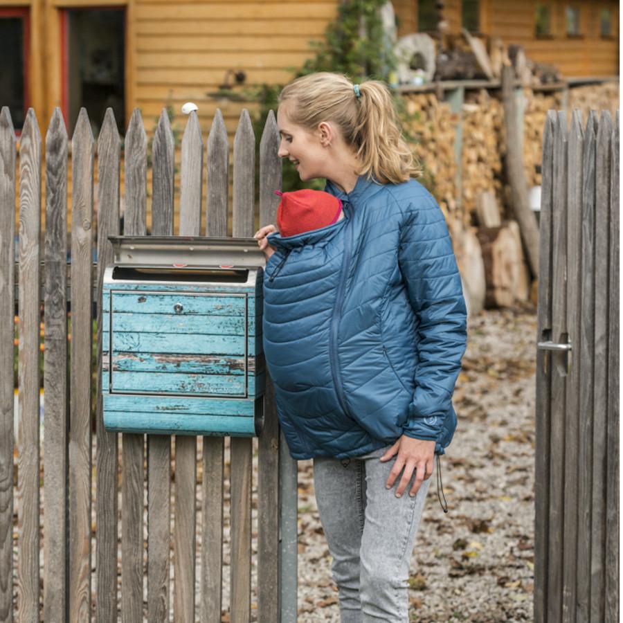 Vêtement de portage et de grossesse MAMALILA - DOUDOUNE PLUME POUR DEUX - Bleu