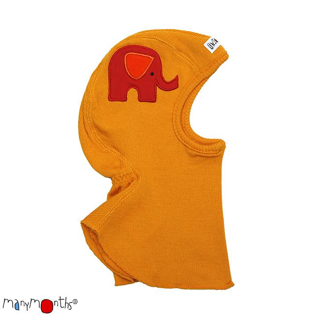 CHAPEAUX ET BONNETS MANYMONTHS -CAGOULE «ELEPHANT» en pure laine mérinos avec broderie