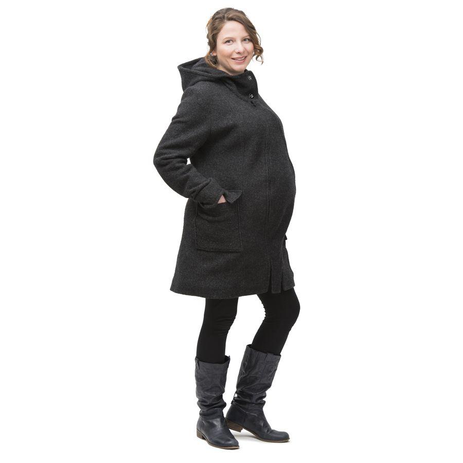 Vêtement de portage et de grossesse MAMALILA MANTEAU de grossesse et portage en LAINE – ANTHRACITE