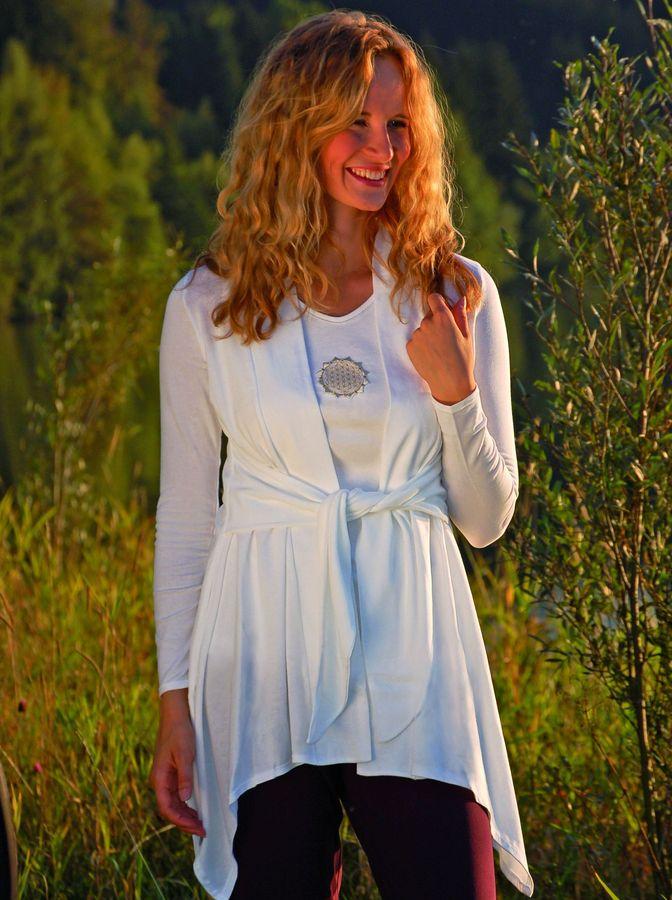 Gilets pour Femmes Gilet long ANANDA – BLANC