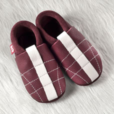 FINS DE SERIES - Chaussons Pololo  en cuir naturel pour toute la famille Chausson Pololo MINISOCCER chianti (18 à 29)
