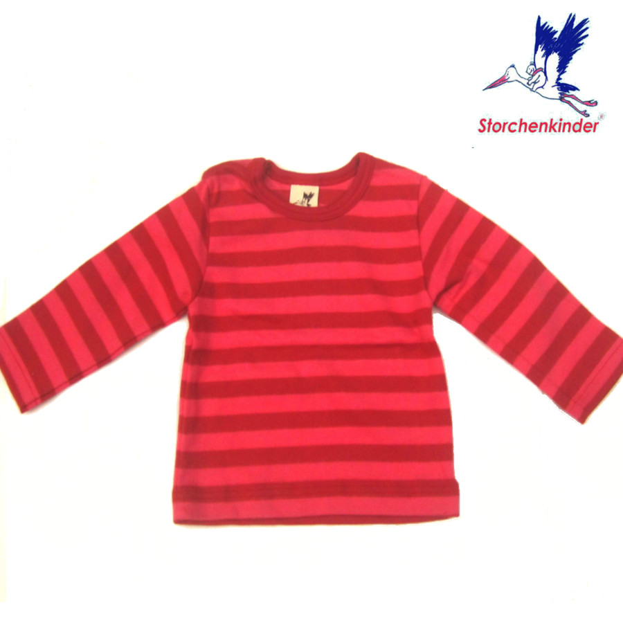 Racine STORCHENKINDER – T-Shirt BEBE manches longues - Rayures rose/rouges