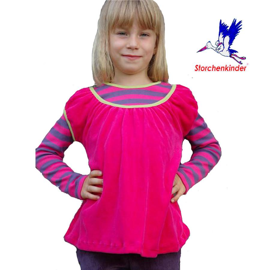 Débardeurs, T-shirts, pulls, gilets, multicapes et bodys STORCHENKINDER – TUNIQUE rose-fuchsia en velours coton bio