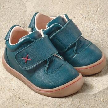 POLOLO PREMIERS PAS - Chaussures bébé  en cuir naturel à semelle souple (19-24) POLOLO - PRIMERO BLEU CARAÏBES - Chaussure souple premiers pas