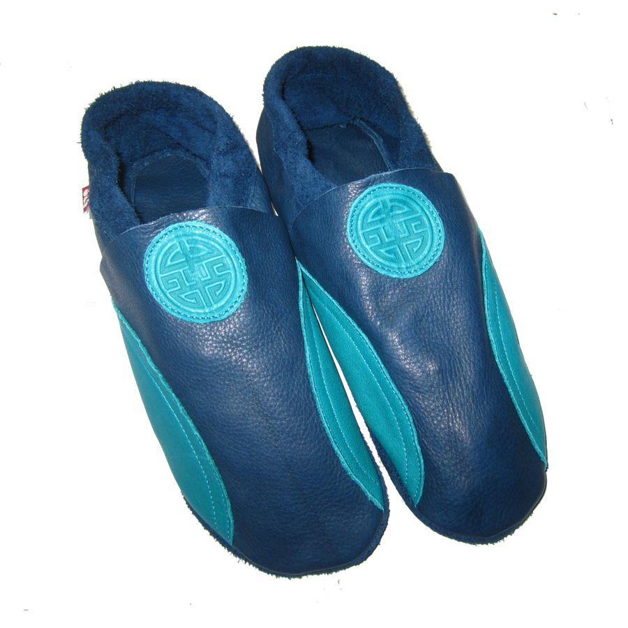 Chaussons en cuir souples, chaussettes, guêtres, jambières Chausson Pololo LONG LIFE BLEU-TURQUOISE (36 à 45)