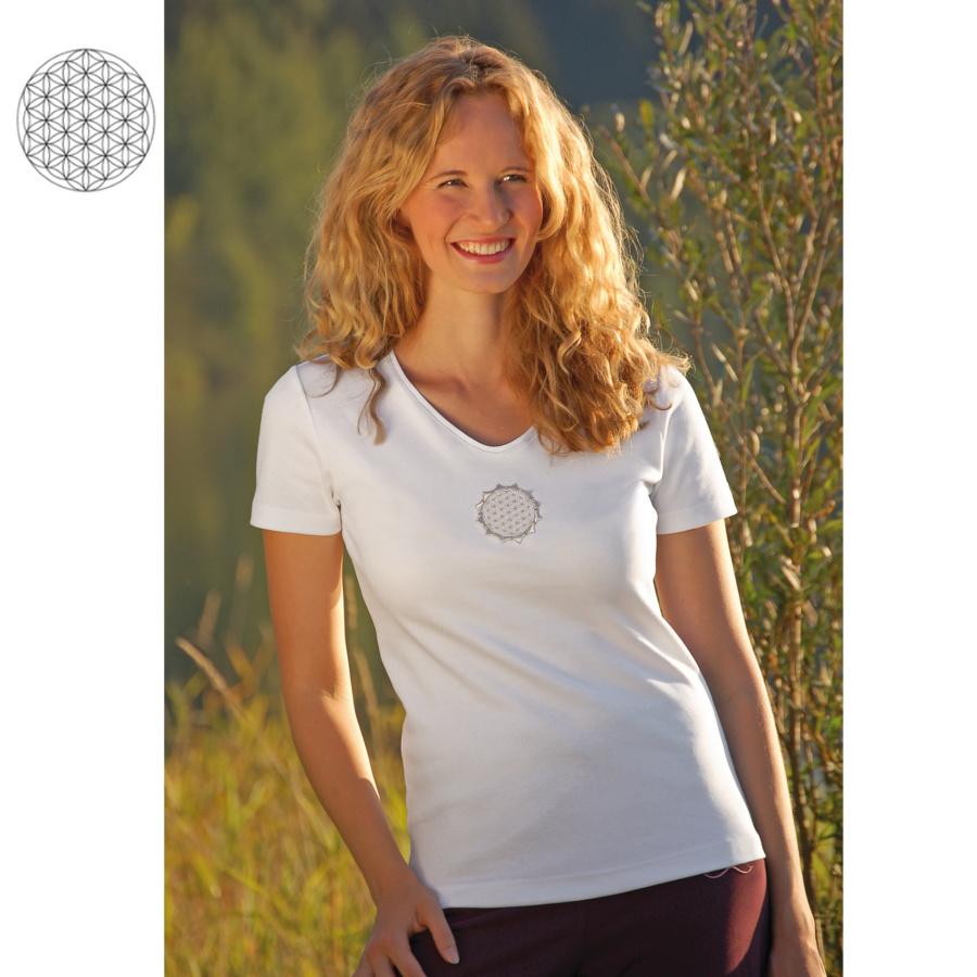 Racine T-Shirt manches courtes BLANC avec broderie FLEUR DE VIE