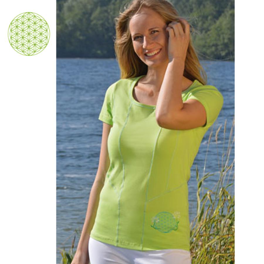 T-SHIRT Manches courtes T-Shirt de YOGA FLEUR DE VIE – vert kiwi