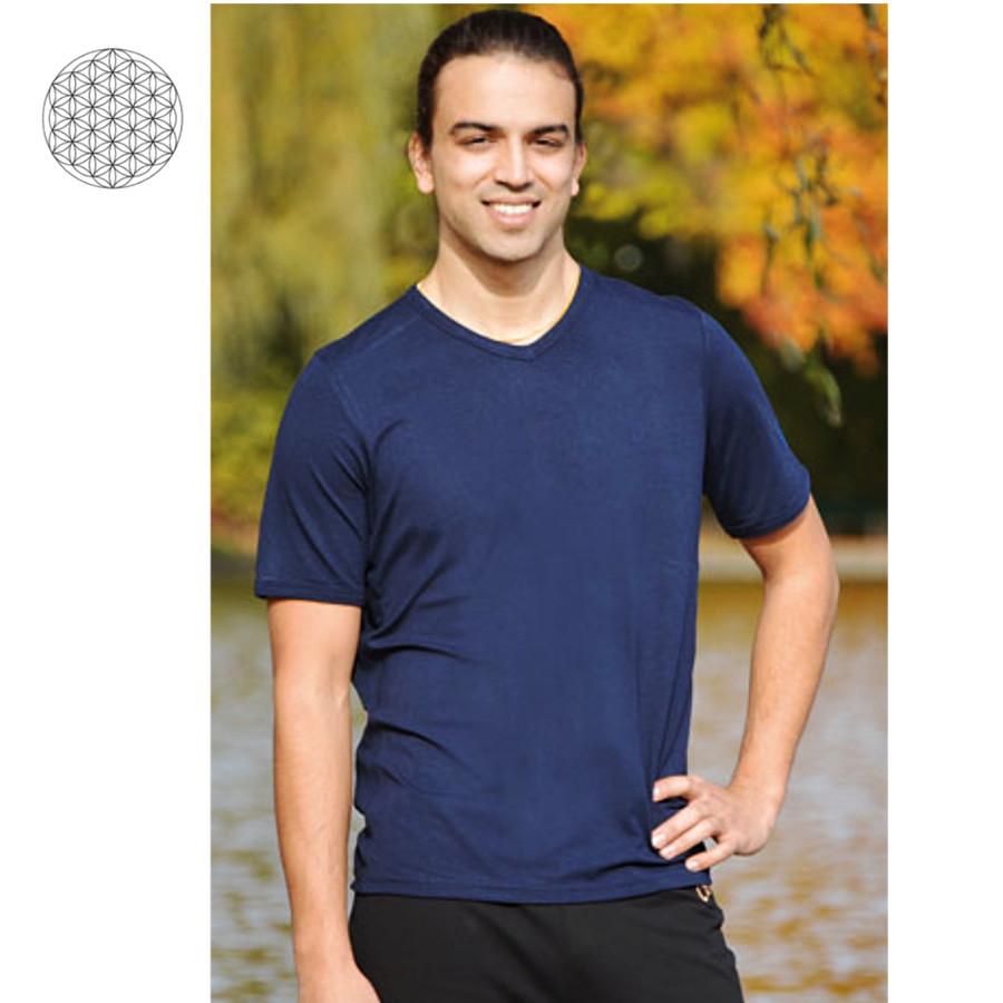 Racine T-Shirt col V en bambou manches courtes - BLEU NUIT