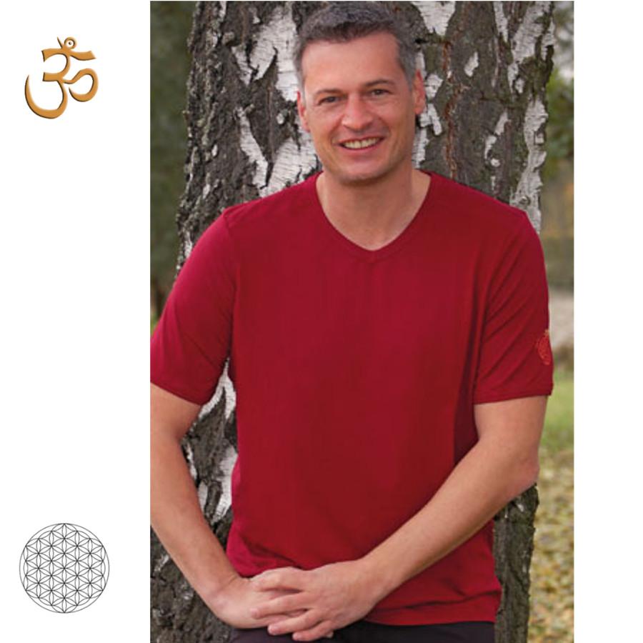 T-SHIRT Manches courtes T-Shirt col V en bambou manches courtes – ROUGE BORDEAUX