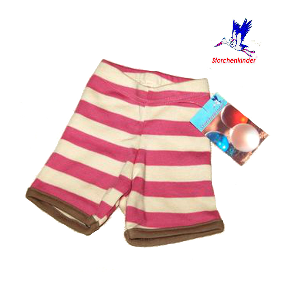 Collection STORCHENKINDER ENFANT (tailles 86-140) STORCHENKINDER – SHORTIES à RAYURES ROSE-ECRU en coton bio