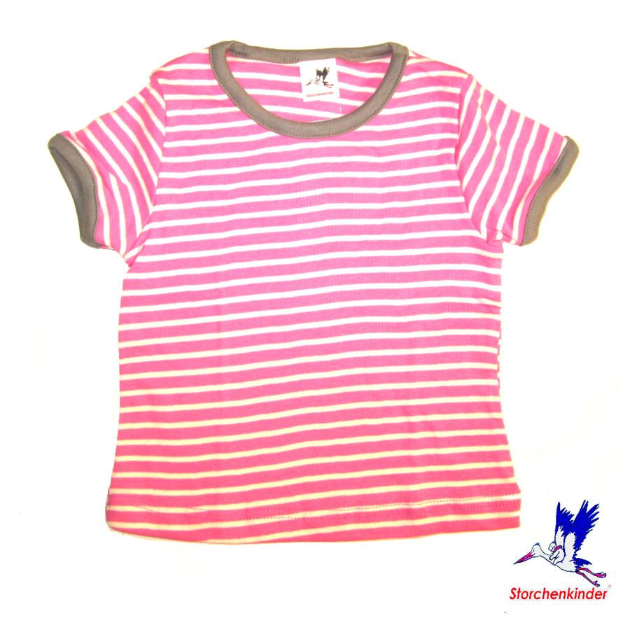Débardeurs, T-shirts, pulls, gilets, multicapes et bodys STORCHENKINDER – T-Shirt manches courtes à RAYURES ROSE-ECRU en coton bio