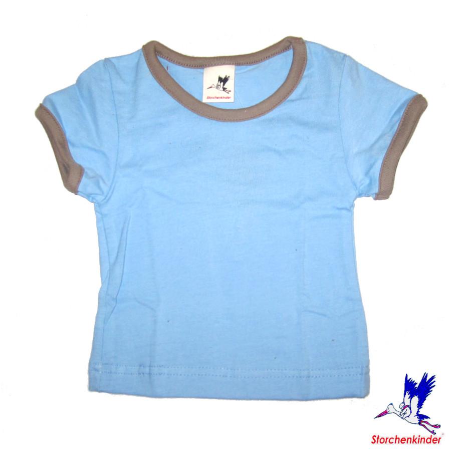 Débardeurs, T-shirts, pulls, gilets, multicapes et bodys STORCHENKINDER – T-Shirt manches courtes BLEU CIEL en coton bio