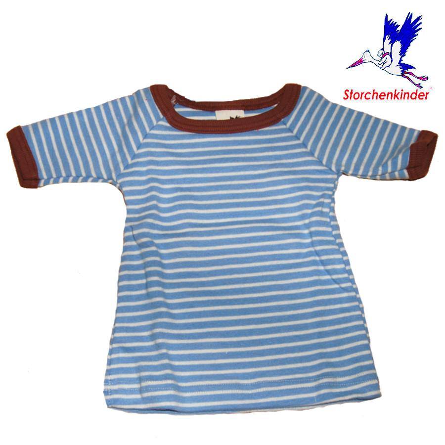 Racine STORCHENKINDER - T-Shirt NOUVEAU-NE en coton bio RAYURES BLEU-ECRU - taille 50/56