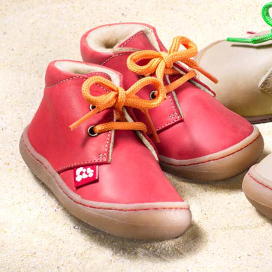 POLOLO PREMIERS PAS - Chaussures bébé  en cuir naturel à semelle souple (19-24) POLOLO - JUAN ROUGE - Chaussures souples premiers pas doublées de laine