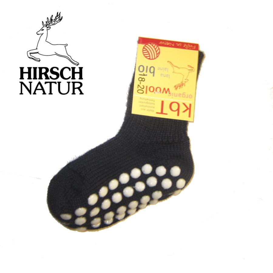 Chaussettes Hirsch -Chaussettes antidérapantes en laine bio - BLEU