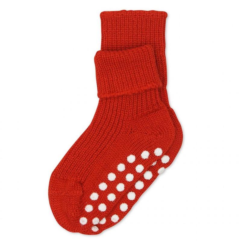 Chaussettes Chaussettes antidérapantes en laine bio - Rouge