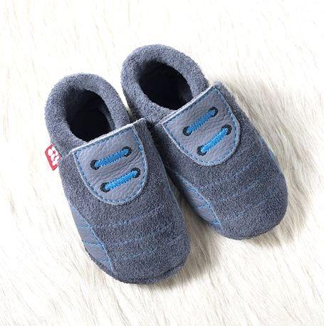 POLOLO SOFT - Chaussons souples en cuir naturel de tannage végétal Chausson Pololo SPORTY graphite-bleu (18 à 33)
