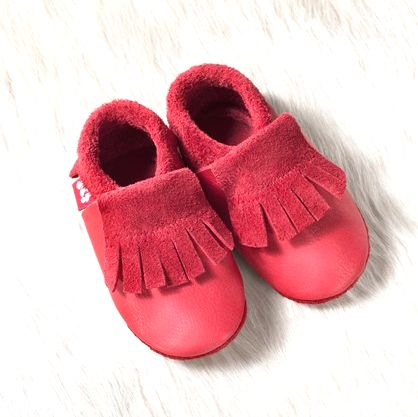 POLOLO SOFT - Chaussons souples en cuir naturel de tannage végétal pour bébés et bambins (16 à 27) Chausson Pololo BIO – MOCASSIN berry (18 à 33)
