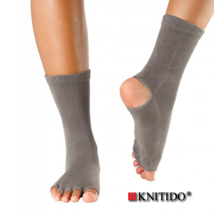 Chaussettes à doigts KNITIDO Knitido  – Chaussetttes anti-dérapantes ouvertes - TAUPE