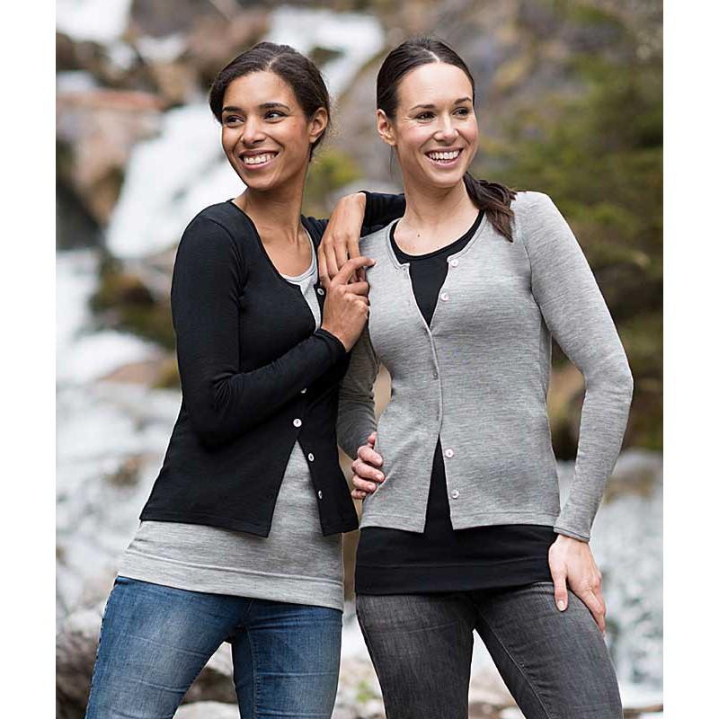 Vêtements et sous-vêtements laine et soie Engel Natur ENGEL 2019 - CARDIGAN FEMME LAINE ET SOIE NOIR