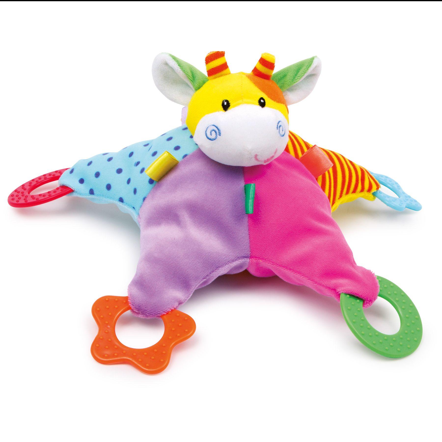 Doudous Legler - Small foot Baby Doudou Hochet étoile girafe avec anneaux de dentition
