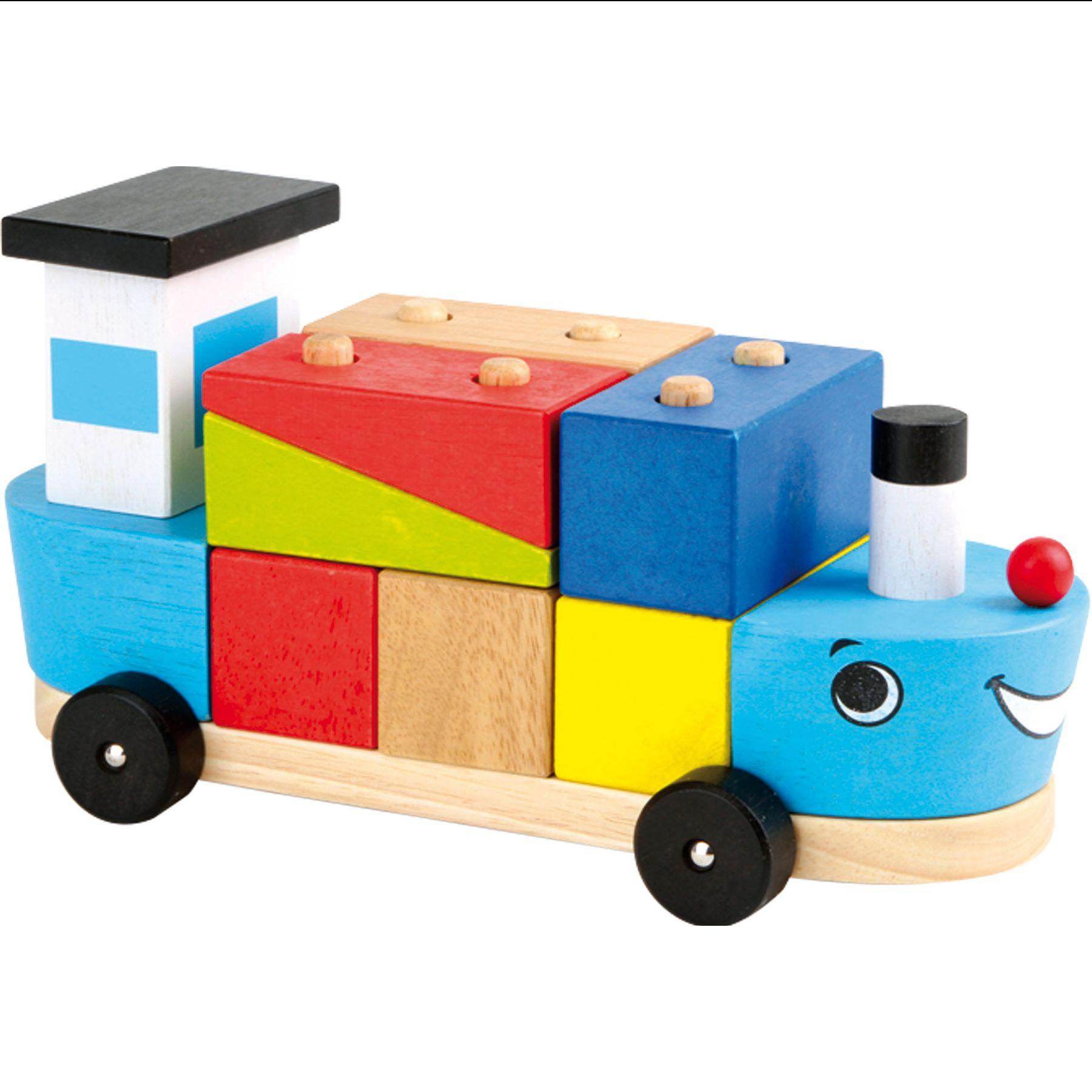 Racine Lelgler - Small foot Bateau avec cubes en bois à empiler