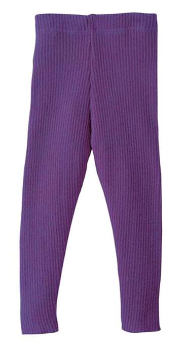 DISANA DISANA - Leggings tricoté côtelé Prune 100% laine mérinos bio