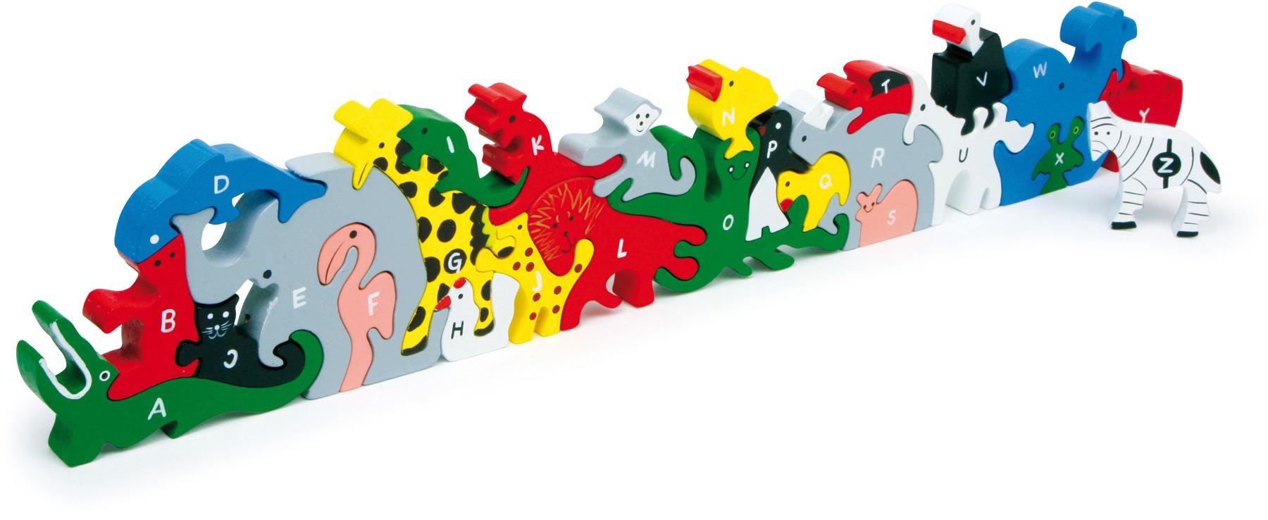 Jeux et Jouets Legler 2020 - Puzzle 3D Animaux lettres et nombres en bois