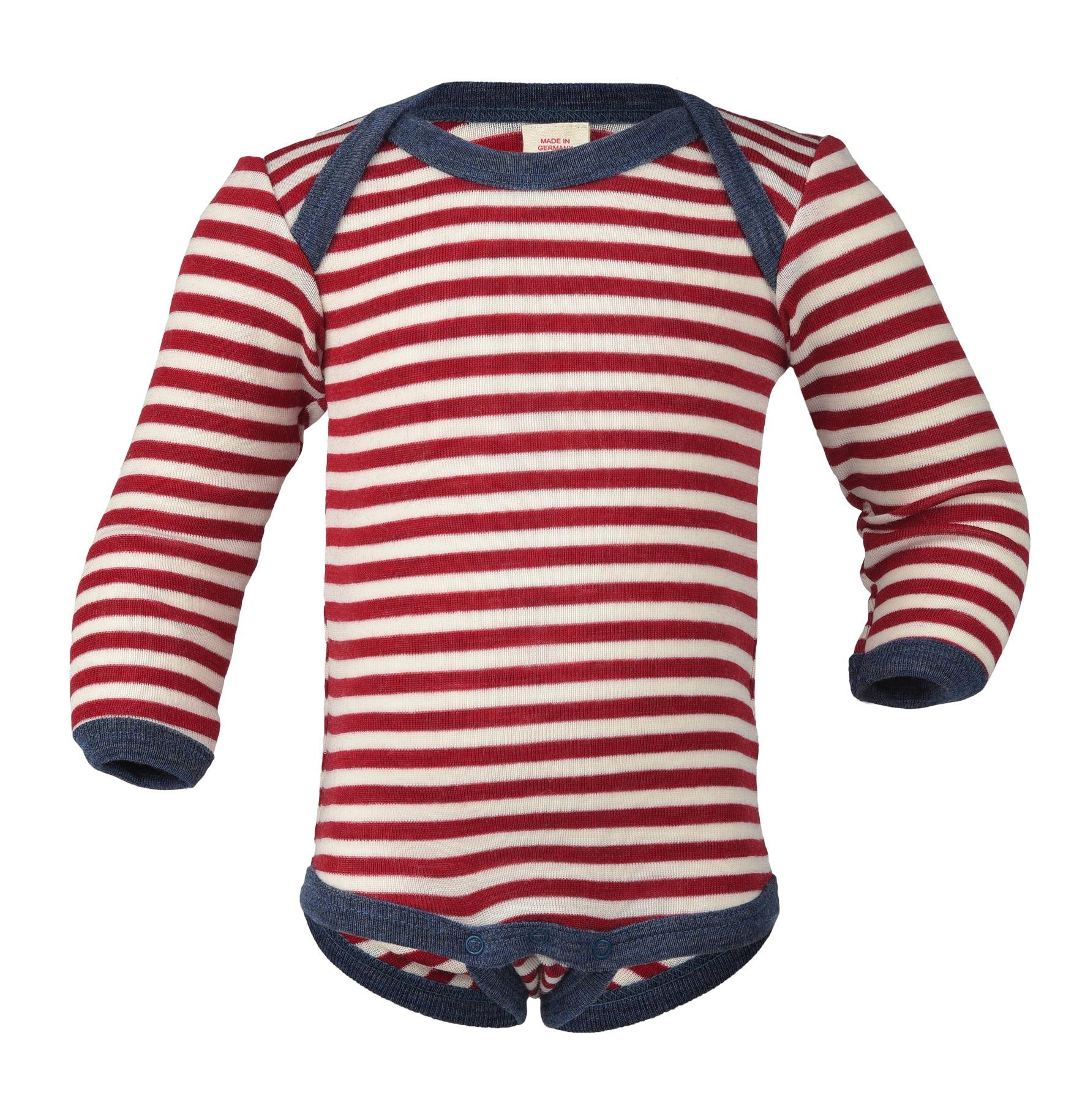 Sous-vêtements ENGEL Nouveauté - Body bébé à rayures en 100% laine mérinos (50 au 92)