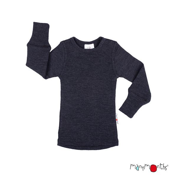 Débardeurs, T-shirts, pulls, gilets, multicapes et bodys Manymonths 2021-22 - T-shirt enfants manches longues en pure laine mérinos