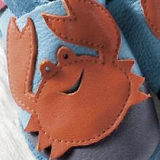 POLOLO SOFT - Chaussons souples en cuir naturel de tannage végétal Chausson Pololo FREDDY LE CRABE (18 à 27)