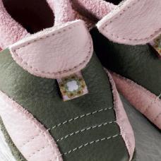 FINS DE SERIES - Chaussons Pololo  en cuir naturel pour toute la famille Chausson Pololo SPORTY olive-rose