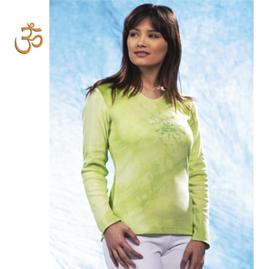 T-SHIRT Manches Longues T-Shirt Batik TARA VERTE manches longues