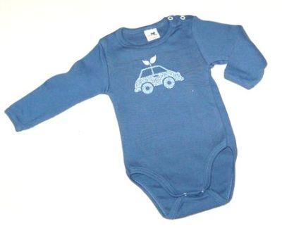 Racine STORCHENKINDER - Body bleu manches longues en coton bio – Impression VOITURE