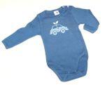 Racine/STORCHENKINDER - Body bleu manches longues en coton bio – Impression VOITURE