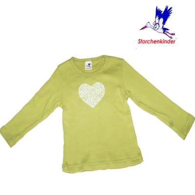 Racine STORCHENKINDER – T-Shirt COEUR EN FLEURS vert printemps pour fille en coton bio