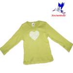 Racine/STORCHENKINDER – T-Shirt COEUR EN FLEURS vert printemps pour fille en coton bio