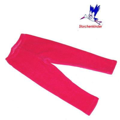 Pantalons et pantacourts STORCHENKINDER – LEGGINGS VELOURS ROSE FUCHSIA coton bio