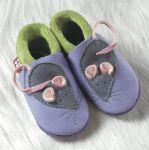 POLOLO SOFT - Chaussons souples en cuir naturel de tannage végétal pour enfants (24 à 39)/Chausson Pololo MINNI LA SOURIS lilas-vert pistache (18 à 33)
