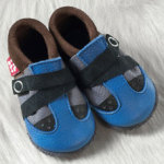 FINS DE SERIES - Chaussons Pololo  en cuir naturel pour toute la famille/Chausson Pololo VIVA bleu-gris-marron (18 à 33)