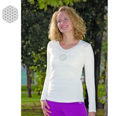 Racine T-Shirt manches longues BLANC avec broderie FLEUR DE VIE