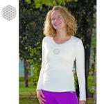 T-Shirt Manches Longues/T-Shirt manches longues BLANC avec broderie FLEUR DE VIE