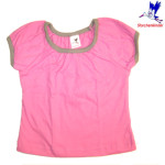 Collection STORCHENKINDER ENFANT (tailles 86-140)/STORCHENKINDER – T-Shirt manches courtes ROSE UNI en coton bio