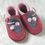POLOLO SOFT - Chaussons souples en cuir naturel de tannage végétal pour enfants (24 à 39)/Chausson Pololo MINNI LA SOURIS framboise-rose (18 à 33)