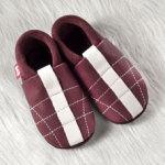 FINS DE SERIES - Chaussons Pololo  en cuir naturel pour toute la famille/Chausson Pololo MINISOCCER chianti (18 à 29)