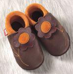 POLOLO SOFT - Chaussons souples en cuir naturel de tannage végétal pour enfants (24 à 39)/Chausson Pololo JASMINE Coco – Mangue (18 à 33)