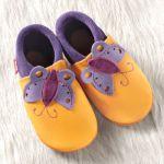 POLOLO SOFT - Chaussons souples en cuir naturel de tannage végétal pour enfants (24 à 39)/Chausson Pololo PAPILLON Mangue-Lilas (18 à 33)