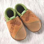POLOLO SOFT - Chaussons souples en cuir naturel de tannage végétal pour enfants (24 à 39)/Chausson Pololo GIRAFE Été indien/ Pistache (18 à 33)
