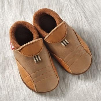 FINS DE SERIES - Chaussons Pololo  en cuir naturel pour toute la famille Chausson Pololo SPORTY Été indien/Brownie (18 à 27)